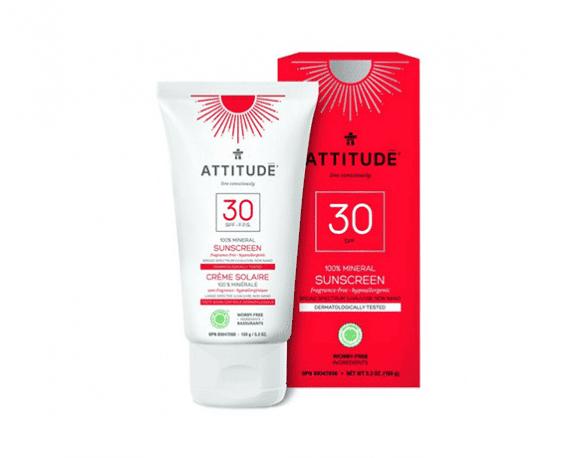 Attitude zonnebrandcrème parfumvrij 150ml spf30 zonnebrand veilig zonnen