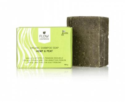 Flow Cosmetics Shampoo Bar Hennep & Turf biologisch veganistisch 100gr gerecyled karton