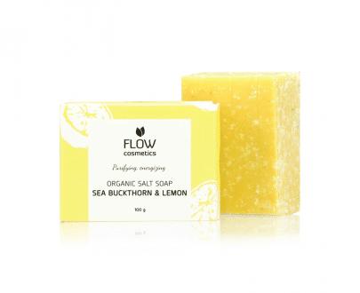Flow Cosmetics zoutzeep duindoorn citroen biologisch en veganistisch 100gr gerecycled karton
