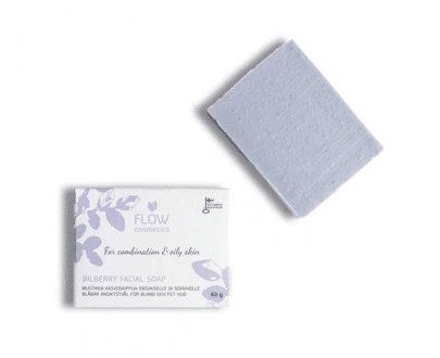 flow cosmetics gezichtszeep facialsoap bilberry biologisch vegan gerecycled karton 60gr gecombineerde vette huid
