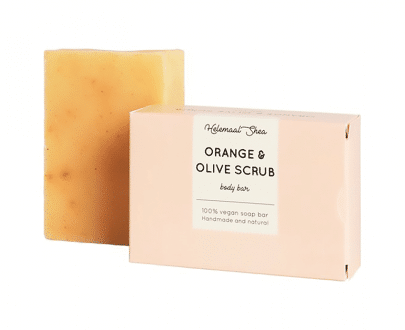 Helemaal Shea Orange & Olive Scrubzeep biologisch vegan zero waste 110 gram